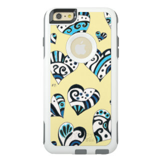 Blue Hearts Scribble  Yellow OtterBox iPhone 6/6s Plus Case