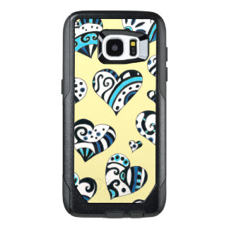 Blue Hearts Scribble  Yellow OtterBox Samsung Galaxy S7 Edge Case