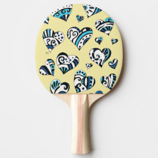 Blue Hearts Scribble  Yellow Ping Pong Paddle