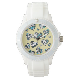 Blue Hearts Scribble  Yellow Watch