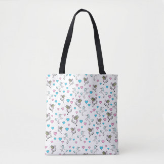 Blue Hearts, Unicorns and Pegasus Horses Tote Bag