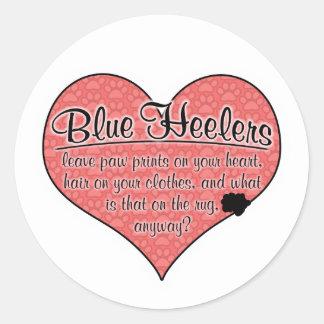 Blue Heeler Paw Prints Dog Humor Round Sticker