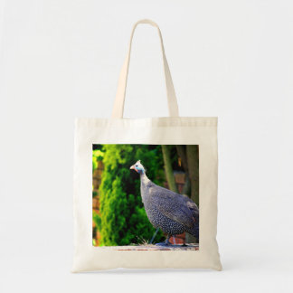 Blue Helmeted Guinea Fowl standing in the sun Tote Bag