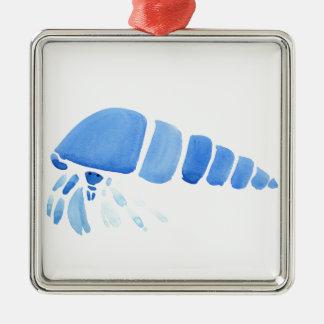 Blue Hermit Crab Silver-Colored Square Ornament
