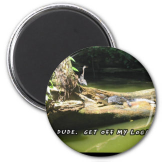 Blue Heron Alligator Log 2 Inch Round Magnet