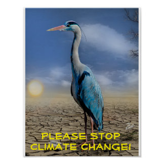 Blue heron in a drought poster