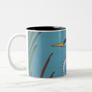 Blue Heron in the Cattails Two-Tone Coffee Mug
