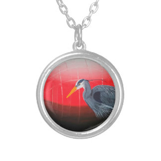 """Blue Heron"" Original Art Necklace"