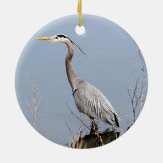 Blue Heron Round Ceramic Ornament