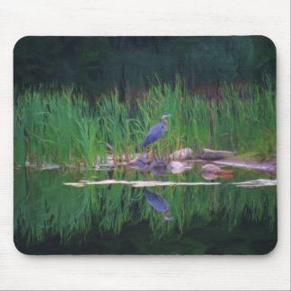 Blue Heron Reflections Animal Art Mousepad