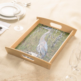 blue heron serving tray