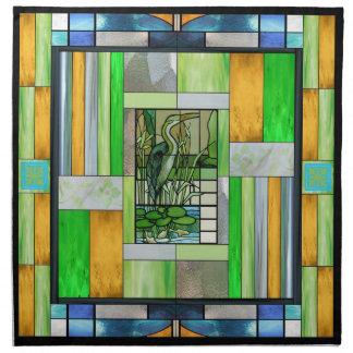Blue Heron Stained Glass Napkin