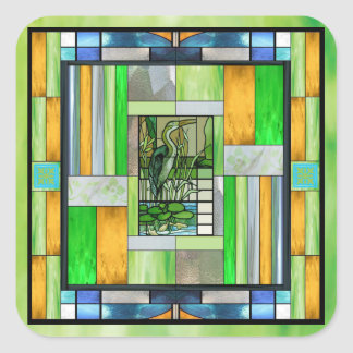 Blue Heron Stained Glass Square Sticker