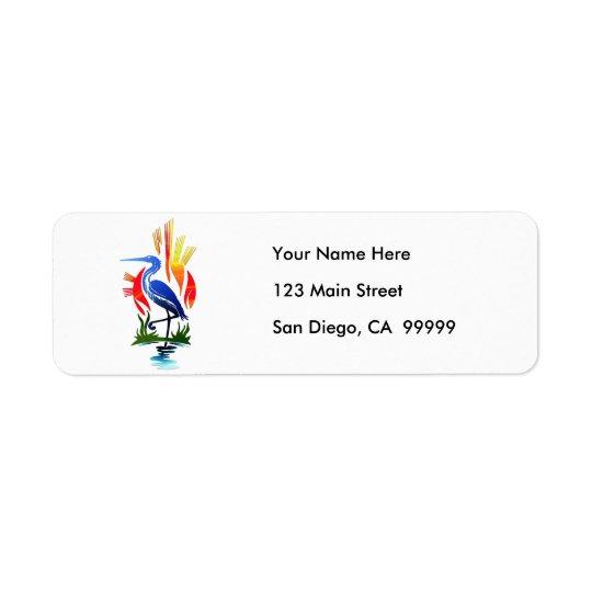 Blue Heron, Sun & Marsh Return Address Label
