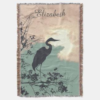 Blue Heron sunset birds watching Throw Blanket