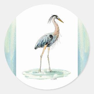 Blue Heron watercolor Classic Round Sticker