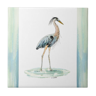 Blue Heron watercolor Tile