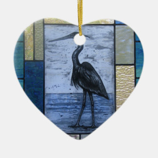 Blue Heron with Blues Ceramic Heart Ornament