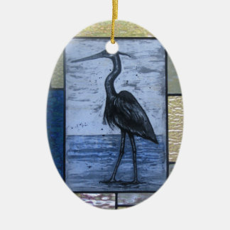 Blue Heron with Blues Ceramic Oval Ornament