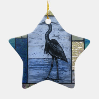 Blue Heron with Blues Ceramic Star Ornament