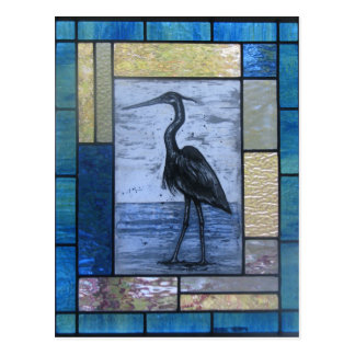 Blue Heron with Blues Postcard