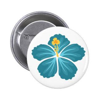 Blue Hibiscus 2 Inch Round Button