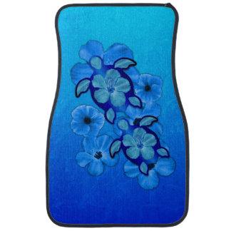 Blue Hibiscus And Honu Turtles Auto Mat