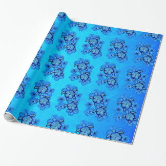 Blue Hibiscus And Honu Turtles Wrapping Paper