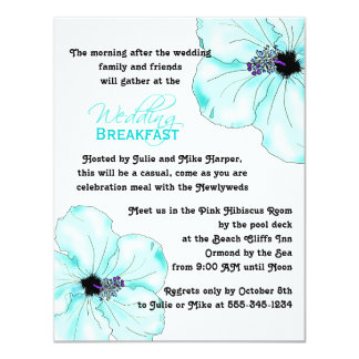 Blue Hibiscus Art Wedding Breakfast Card