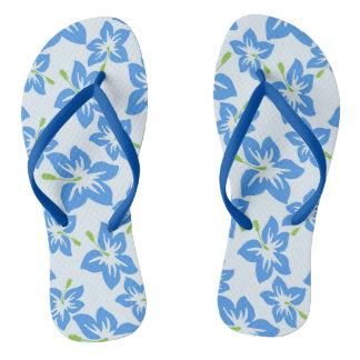 Blue Hibiscus Flip Flops