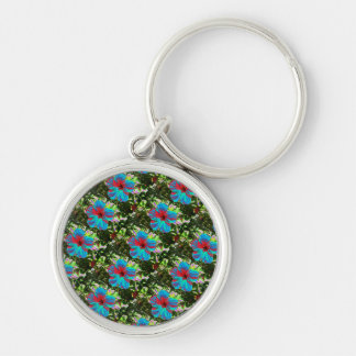 Blue Hibiscus Floral Tropical Keyring Silver-Colored Round Keychain