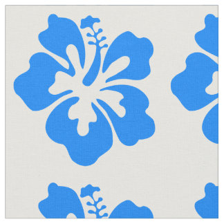Blue Hibiscus Flower Print Fabric