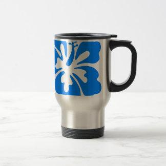 Blue Hibiscus Flower Travel Mug