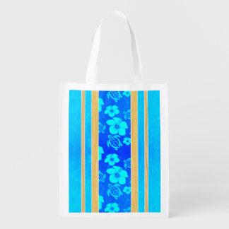 Blue Hibiscus Honu Stripes Reusable Grocery Bag