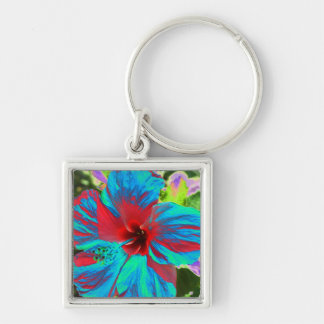 Blue Hibiscus  Islands Floral  Keyring Silver-Colored Square Keychain