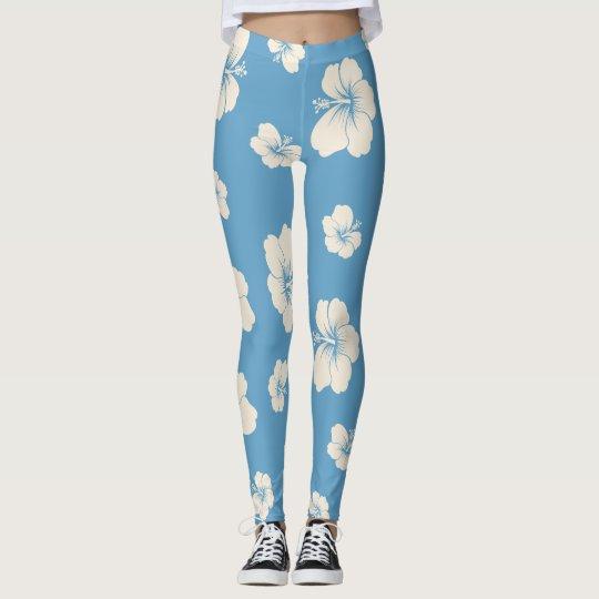 Blue Hibiscus Leggings