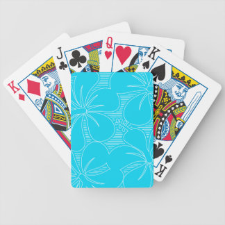 Blue Hibiscus lines Bicycle Playing Cards
