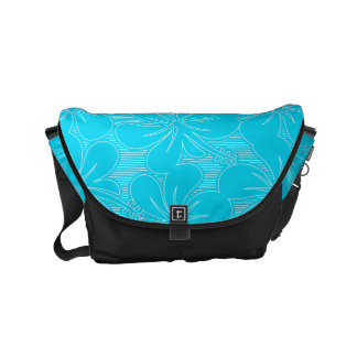 Blue Hibiscus lines Commuter Bags