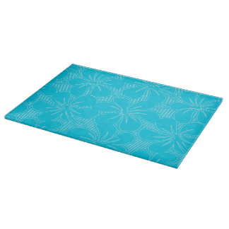 Blue Hibiscus lines Cutting Board