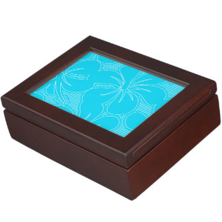 Blue Hibiscus lines Keepsake Box