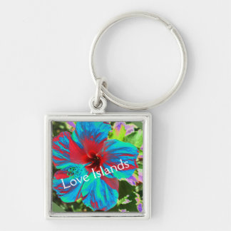 Blue Hibiscus Love Islands Floral  Keyring Silver-Colored Square Keychain