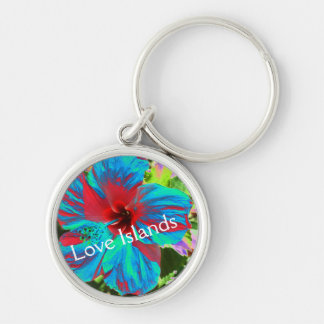 Blue Hibiscus Love Islands Floral Tropical Keyring Silver-Colored Round Keychain