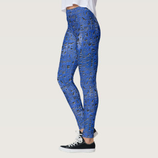 Blue Hieroglypics Leggings