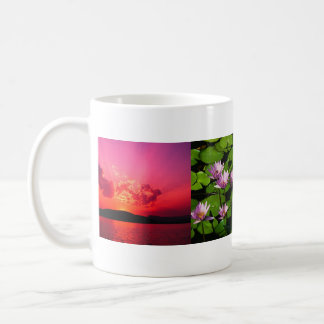 Blue hills, Water lilies, Sunset, name here Basic White Mug