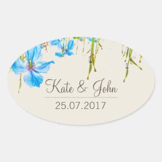 Blue Himalayan Poppy, personalized wedding sticker