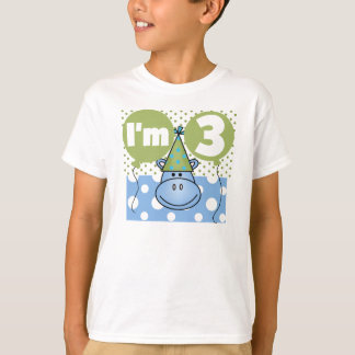 Blue Hippo 3rd Birthday T-Shirt