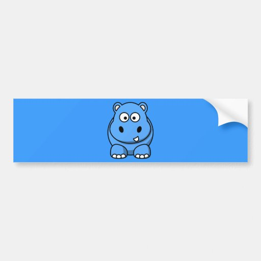 blue-hippo- cute cartoon wild animal happy fun bumper stickers