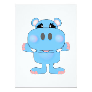 blue hippo cute character custom invitation