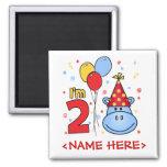 Blue Hippo Face 2nd Birthday Fridge Magnets
