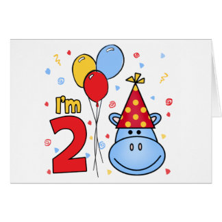 Blue Hippo Face 2nd Birthday Invitation Cards